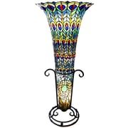River of Goods Feathered Peacock Tiffany Style Stained Glass 43'' H Floor Lamp
