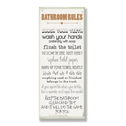 Stupell Industries Bathroom Rules Skinny Rectangle Typography Wall Plaque