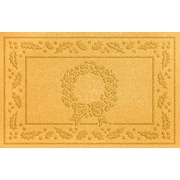 Bungalow Flooring Aqua Shield Wreath Doormat; Yellow