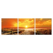 Antique Revival Seaside Sunset 3 Piece Photographic Print Set