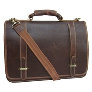 AmeriLeather Traditional Leather  Double Slip-in Executive Briefcase; Brown