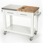 Chris & Chris Pro Chef Kitchen Island w/ Butcher Block Top; White