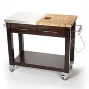 Chris & Chris Pro Chef Kitchen Island with Butcher Block Top; Brown
