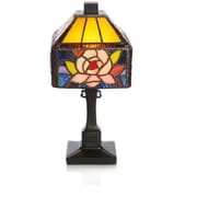 River of Goods Rose Butterfly Tiffany Style  Stained Glass 11.75'' Table Lamp