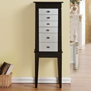 CTE Trading Terence 6 Drawer Jewelry Armoire w/ Mirror; Silver
