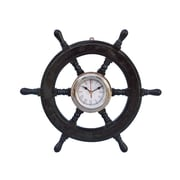 Handcrafted Nautical Decor Deluxe Class 18'' Wood and Chrome Pirate Ship Wheel Clock; Chrome