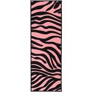 Ottomanson Pink Black Animal Print Zebra Area Rug; 1'8'' x 4'11''