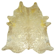 Chesterfield Leather Extra Large Brazilian Cowhide Gold Area Rug