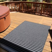 Mats Inc. Brush Stripes All Weather Black/Gray Outdoor Area Rug