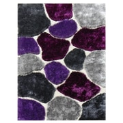 DonnieAnn Company Flash Shaggy Lilac Abstract Block Area Rug; 5' x 7'