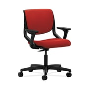 HON  Motivate  HONMT102CU66 Upholstered Back Office/Computer Chair, Adjustable Arms, Onyx Shell, Tomato Fabric