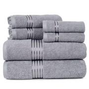 Lavish Home 100% Egyptian Cotton Hotel 6 Piece Towel Set - Silver