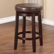 Linon Maya 24'' Swivel Bar Stool with Cushion; Brown