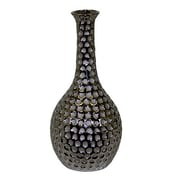 Urban Trends Ceramic Vase with Neck and Round Belly LG Dimpled Chrome Silver; 15'' H x 7'' W x 7'' D