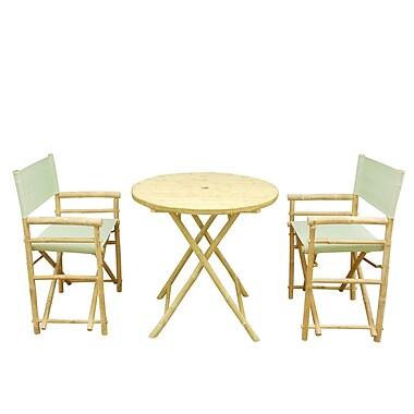 ZEW Bamboo 3 Piece Outdoor Dining Set; Celadon