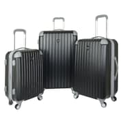 Travelers Club Chicago 3 Piece Luggage Set; Black