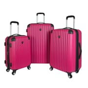 Travelers Club Chicago 3 Piece Luggage Set; Pink