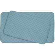 Bath Studio Massage 2 Piece Premium Micro Plush Memory Foam Bath Mat Set (Set of 2); Light Blue