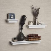 DanyaB Cornice 3 Piece Ledge Floating Shelf Set; White