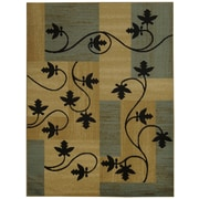Rugnur Pasha Maxy Home Contemporary Floral Boxes Ocean Blue/Black Area Rug; 3'3'' x 5'