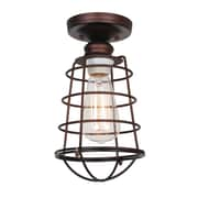 Design House Ajax 1 Light Semi Flush Mount; Textured Coffee Bronze