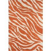 Chandra Stella Patterned Contemporary Wool Orange/White Area Rug; 8' x 10'