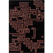 Chandra Stella Patterned Contemporary Wool Black/Orange Area Rug; 8' x 10'