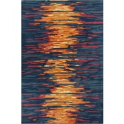 Chandra Stella Patterned Contemporary Wool Blue/Orange Area Rug; 5' x 7'6''