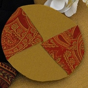 Pacific Table Linens Classic Paisley Wine Glass Coasters (Set of 2); SPICE-GOLD