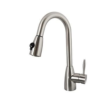 Virtu Neptune Single Handle Single Hole Kitchen Faucet w/ Pull-Down Spray; Brushed Nickel