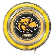 Holland Bar Stool NCAA 15'' Double Neon Ring Logo Wall Clock; Southern Mississippi