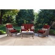 Hanover Ventura 4 Piece Deep Seating Group with Cushions; Crimson Red