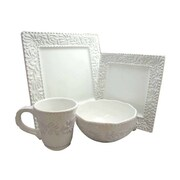 American Atelier Bianca Leaf Square 16 Piece Dinnerware Set; White