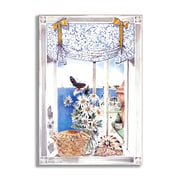 Stupell Industries Daisies and Butterfly Faux Window Scene Wall Plaque