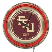 Holland Bar Stool NCAA 15'' Double Neon Ring Logo Wall Clock; Florida State-Script
