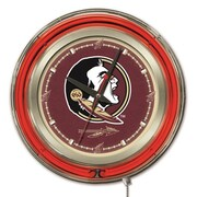 Holland Bar Stool NCAA 15'' Double Neon Ring Logo Wall Clock; Florida State-Head