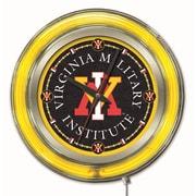 Holland Bar Stool NCAA 15'' Double Neon Ring Logo Wall Clock; Virginia Military Institute
