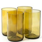 Bottles & Wood Wine Bottle Tumbler Glass (Set of 4); Aqua