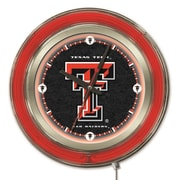 Holland Bar Stool NCAA 15'' Double Neon Ring Logo Wall Clock; Texas Tech