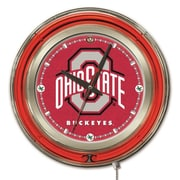 Holland Bar Stool NCAA 15'' Double Neon Ring Logo Wall Clock; Ohio State