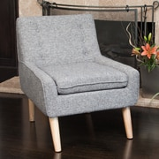 Home Loft Concepts Reese Tufted Fabric Retro Side Chair; Grey