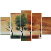 DesignArt Four Seasons Nature Tree 5 Piece Original Painting on Canvas Set