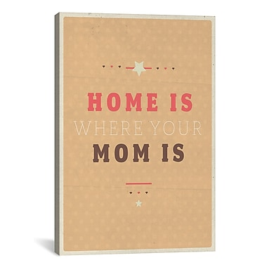 iCanvas American Flat Home Is Mom Textual Art on Wrapped Canvas; 18'' H x 12'' W x 0.75'' D