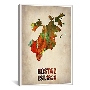 iCanvas Boston Watercolor Map by Naxart Graphic Art on Wrapped Canvas; 18'' H x 12'' W x 0.75'' D