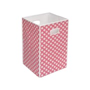 Badger Basket Folding Hamper & Storage Bin; Pink with White Polka Dots