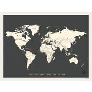Children Inspire Design Vintage Personalized World Travel Map Graphic art