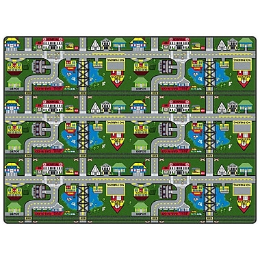Flagship Carpets Educational Green Places To Go Area Rug; 6' x 12'