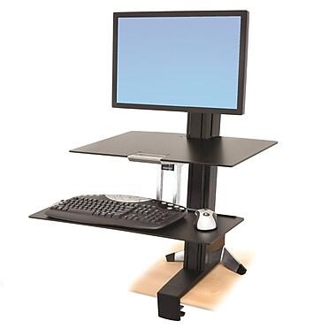ErgotronMD – 33-351-200 WorkFit-S, écran simple, poids lourd, surface de travail et grand plateau pour clavier