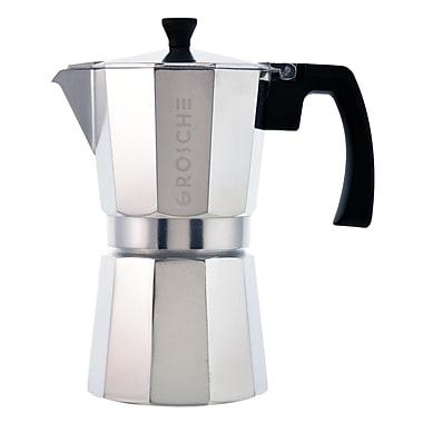 Grosche Milano Stovetop Espresso Maker, Silver, 9 cup