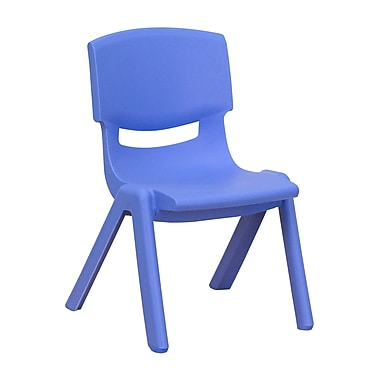 Flash Furniture Plastic Stackable School Chair with 10.5''H Seat, Blue, 1YUYCX003BLUE
